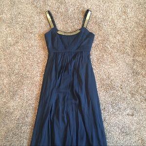 Navy Blue Empire Waist Floor Length Dress